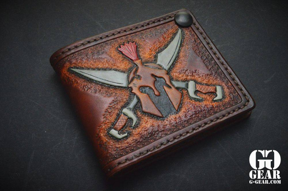 "Harp Leather Harp Leather - Leather Wallet ""Molon Labe"""