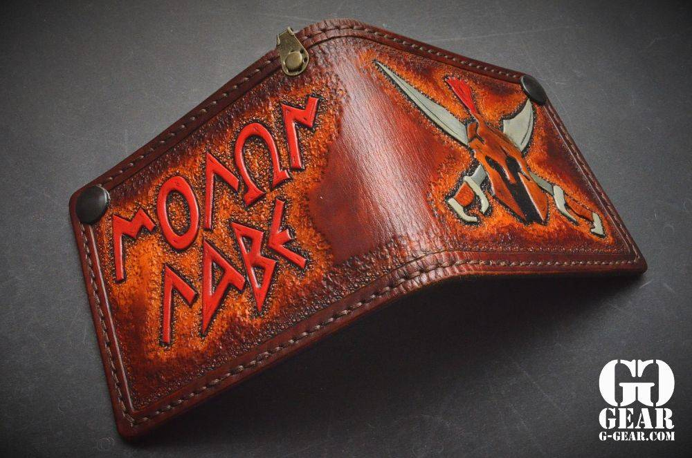 "Harp Leather Harp Leather - Leder-Geldbeutel ""Molon Labe"""
