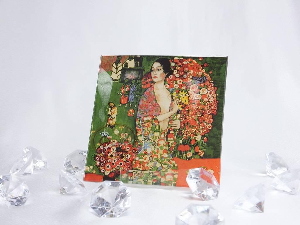 CARMANI - 1990 Gustav Klimt - Die Tänzerin - Glasteller 13 x 13 cm