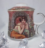 DELUXE by MJS Alfons Mucha - Precious Stones burgundy - Teacup Set