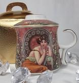 Alfons Mucha - Precious Stones bordeaux - Teetasse Set