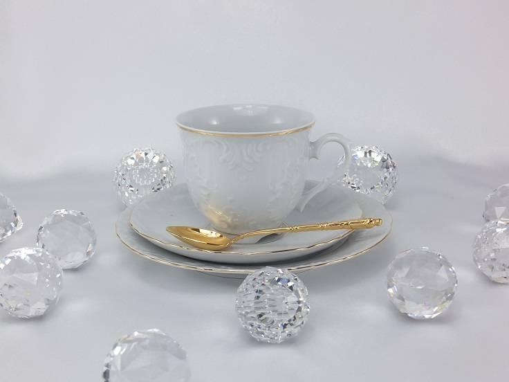 Marie - Luise - elegante Porzellanlinie im schlichten Weiß mit Goldrand
