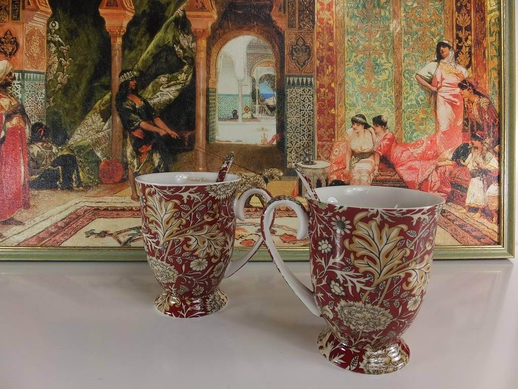 The Morris - stillvolle Porzellantassen  in Geschenkbox -  Rot