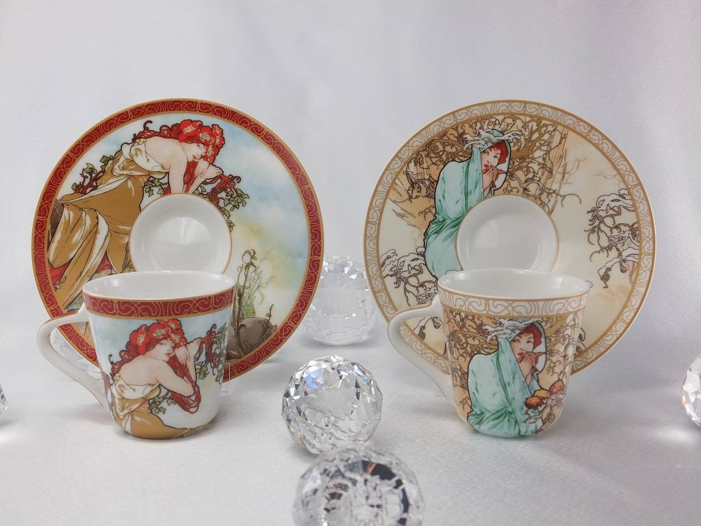 CARMANI - 1990 Alfons Mucha - The Four Season - Espressotassen Set - Winter / Sommer