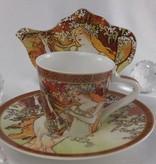 CARMANI - 1990 Alfons Mucha - The Four Season - Espressotassen Set - Herbst/Frühling