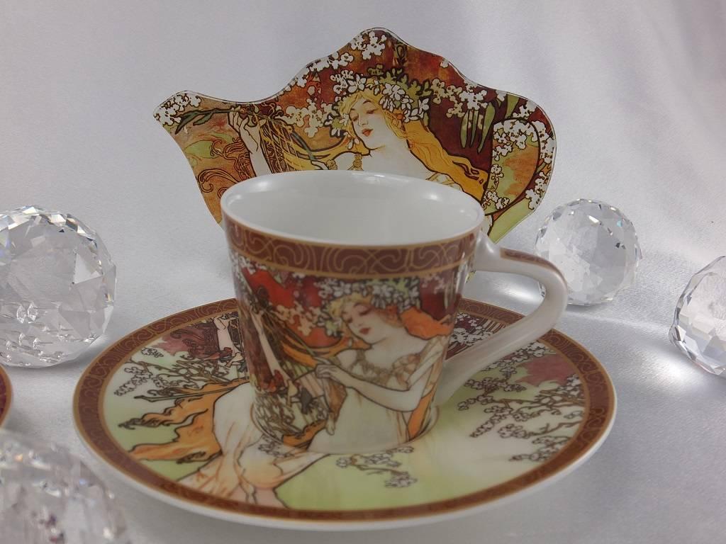 CARMANI - 1990 Alfons Mucha - The Four Seasons - Espresso cups set  spring  / autumn