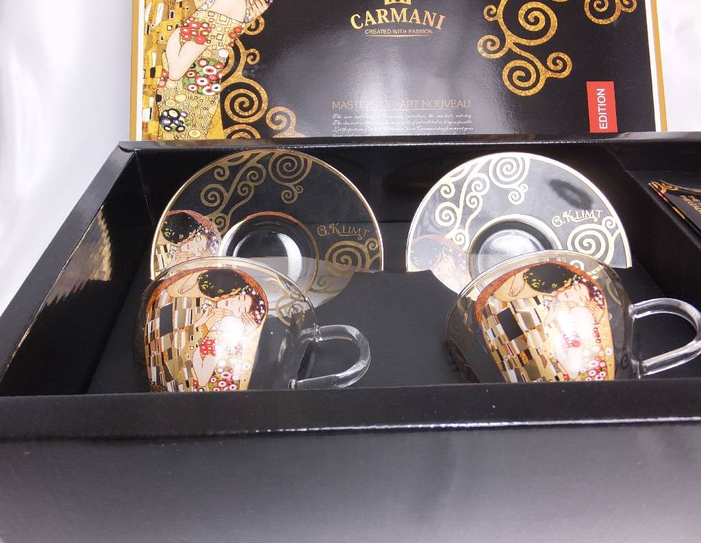 CARMANI - 1990 Gustav Klimt - The Kiss - Cappuccino Cups made of glass