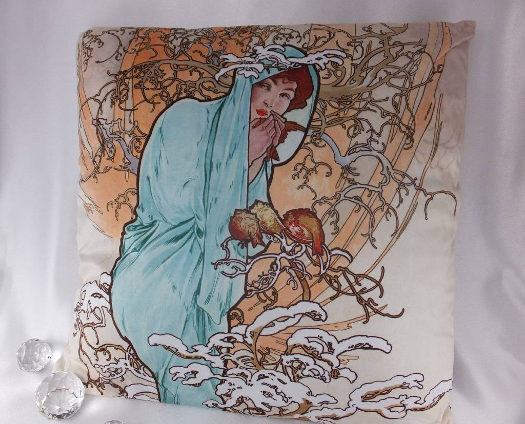 CARMANI - 1990 Alfons Mucha Kissen - The Four Seasons - Winter