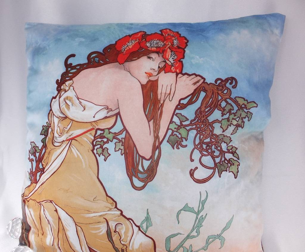 CARMANI - 1990 Alfons Mucha - Kissen - The Four Seasons - Sommer