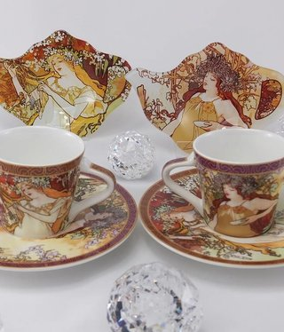 CARMANI - 1990 Alfons Mucha - Espresso Cups - The Four Seasons- H / F