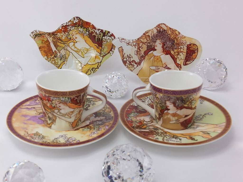 fine bone china 4 pieces ALFONS MUCHA COFFEE CUP