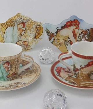 CARMANI - 1990 Alfons Mucha - Espresso Cups - The Four Seasons- S / W