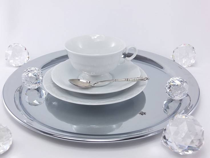 Marie - Claire - elegant porcelain collection with white ornament
