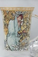 CARMANI - 1990 Alfons Mucha -The Four Seasons - Winter - Kaffeetasse im Geschenkkarton     - Copy