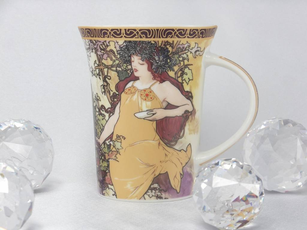 CARMANI - 1990 Alfons Mucha - The Four Seasons - Autumn coffee cup in gift box