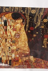 CARMANI - 1990 Gustav Klimt - glass plate - The kiss dark 25 x 25 cm