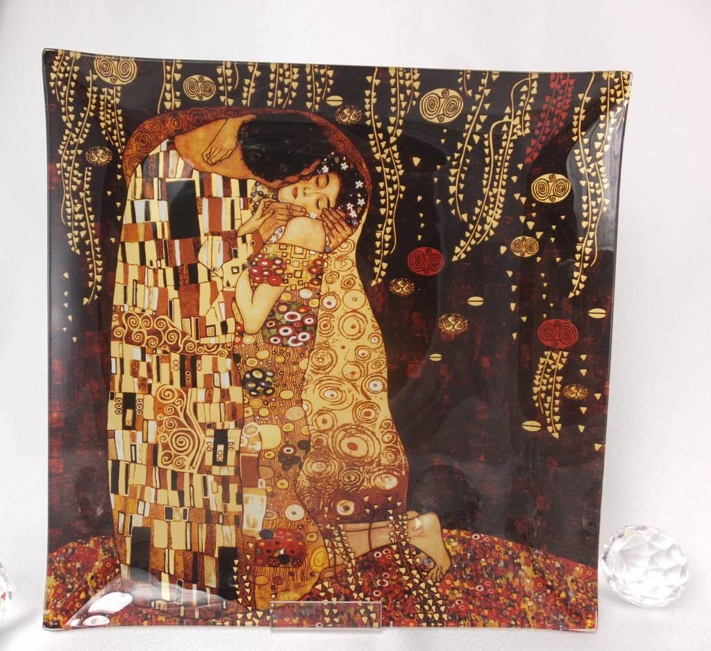 CARMANI - 1990 Gustav Klimt - Glasteller - Der Kuss dunkel 25 x 25 cm