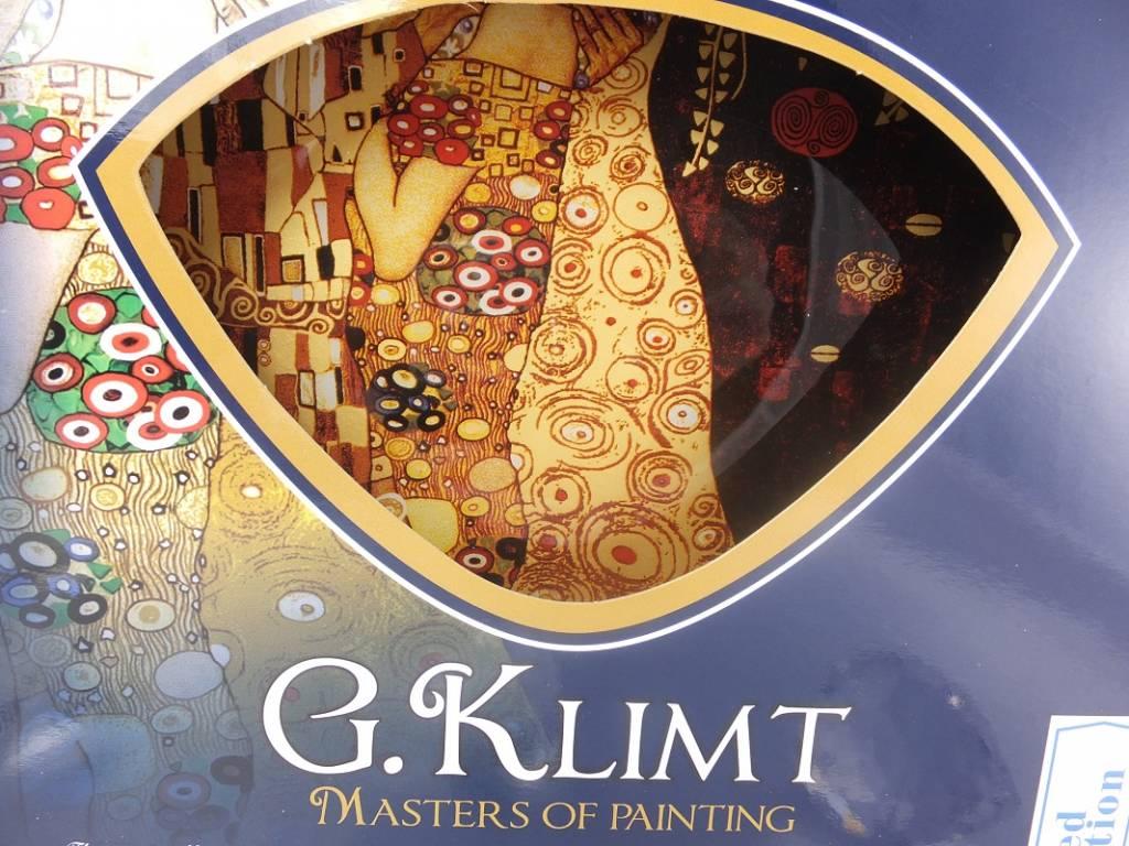 CARMANI - 1990 Gustav Klimt  - Der Kuss dunkel - Glasteller 25 x 25 cm