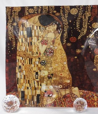 CARMANI - 1990 Gustav Klimt - Glasteller wellig  - 30 x 30 - Der Kuss