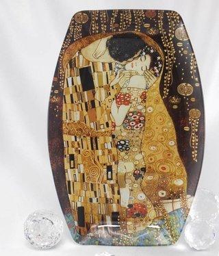 CARMANI - 1990 Gustav Klimt - Der Kuss - Glasteller 29,5 x 19,5 cm