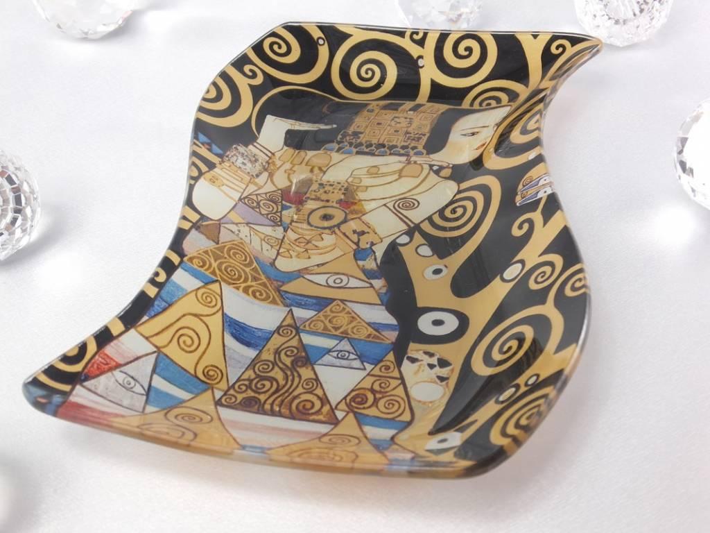 CARMANI - 1990 Gustav Klimt - Glasteller -S-Form - Erwartung 23 x 15 cm