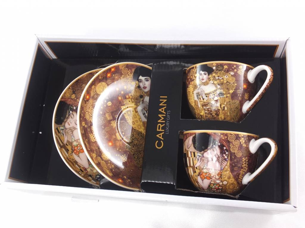 CARMANI - 1990 Gustav Klimt - The Kiss - Cappuccino Mug - The Kiss & Adele Bloch Bauer