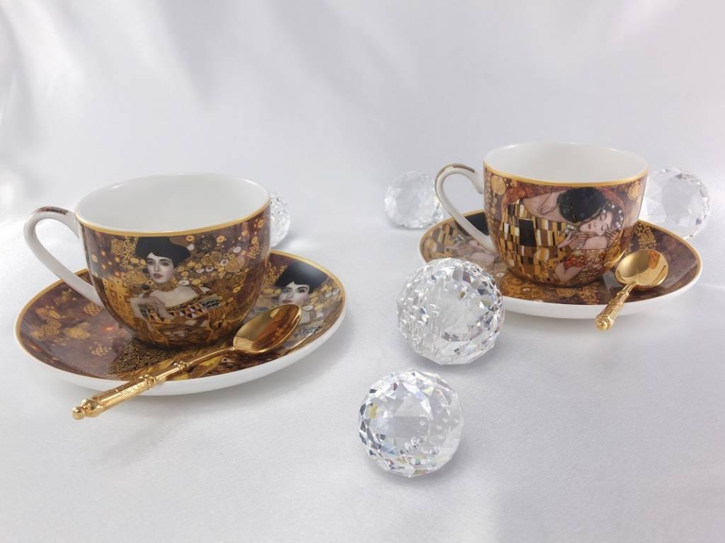 CARMANI - 1990 Gustav Klimt - Cappuccino Tassen Set - Der Kuss & Adele Bloch Bauer