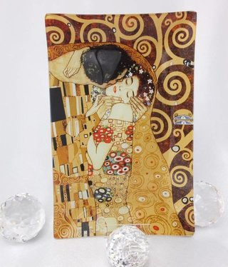 CARMANI - 1990 Gustav Klimt - The Kiss - Glass Plate - Box