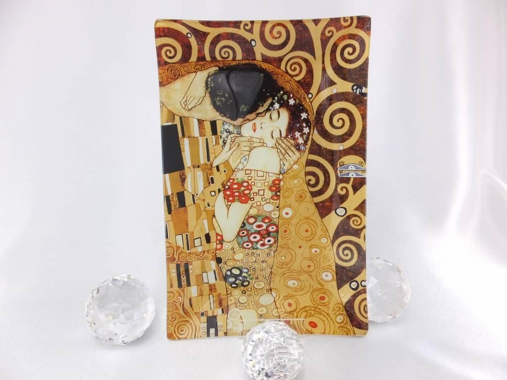 CARMANI - 1990 Gustav Klimt The Kiss glass plate 15 x 23 cm in gift box ...