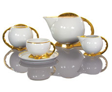 Cmielow - 1790 Glamor IX - Coffee service for 6 persons with gold rim / gold base