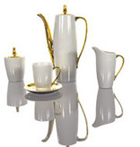 Cmielow - 1790 Coffee service II for 6 persons in white with gold decoration