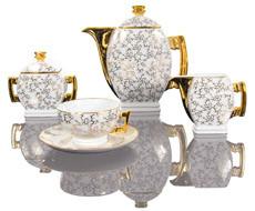 Cmielow - 1790 Glamour  IV -Kaffee - Teeservice  für 6 Personen mit marmorierter Oberfläche .