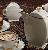 Cmielow - 1790 Glamor III coffee service for 6 persons with gold rim.