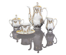Cmielow - 1790 Glamor XII coffee service for 6 persons with gold decoration