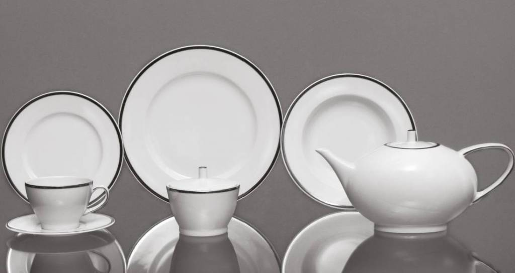 CRISTOFF -1831 Marie - Blanche white with platinum edge - coffee service for 6 people - 15 parts