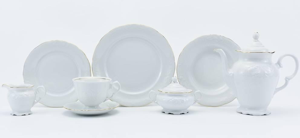 CRISTOFF -1831 Marie - Claire -  Weiß  mit Goldrand - Kaffeeservice für 6 Personen - 15 -teilig