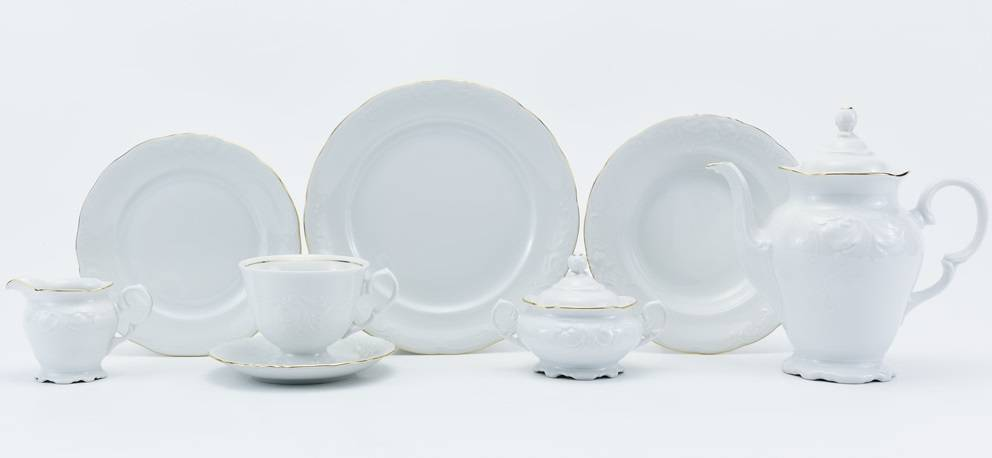 CRISTOFF -1831 Marie - Claire - White with gold rim - Coffee service for 6 persons - 15 parts