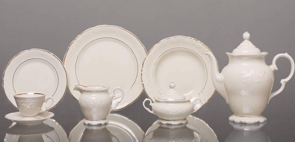 CRISTOFF -1831 Marie - Claire -  Ecru  mit Goldrand - Kaffeeservice für 6 Personen - 15 -teilig
