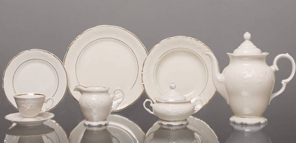CRISTOFF -1831 Marie - Claire - Ecru with gold rim - Coffee service for 6 persons