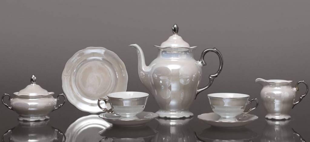 CRISTOFF -1831 Marie - Josée - Pearl /Luster /Platin -Kaffeeservice für 6 Personen