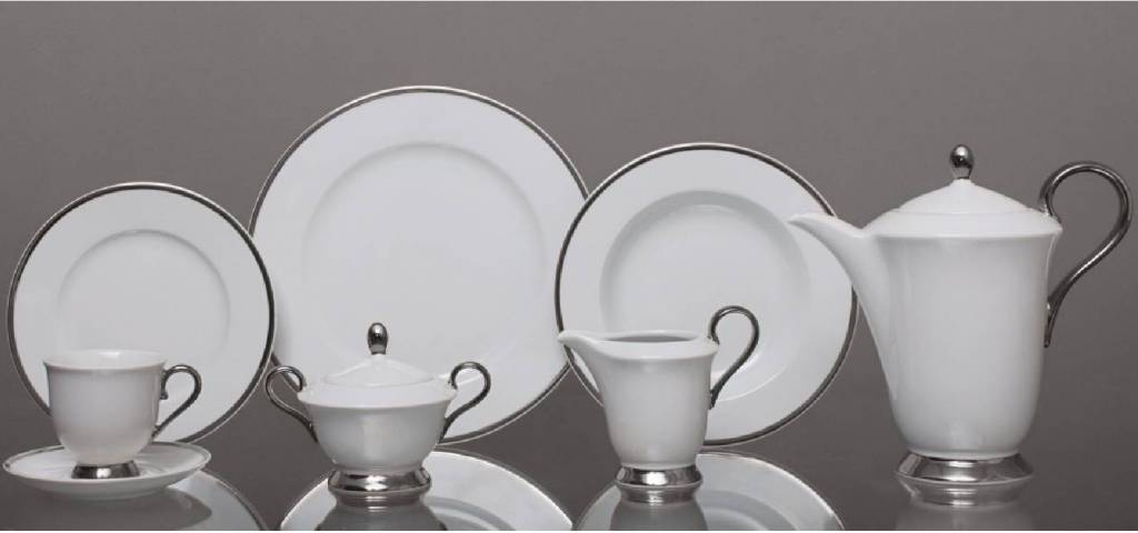 CRISTOFF -1831 Marie - Julie - Coffee Service for 6 Persons - 15 Pieces - Plate Decoration