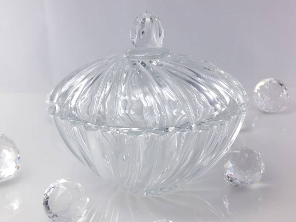 IRENA - 1924  Opulent glass bowl - candy  bowl with relief pattern