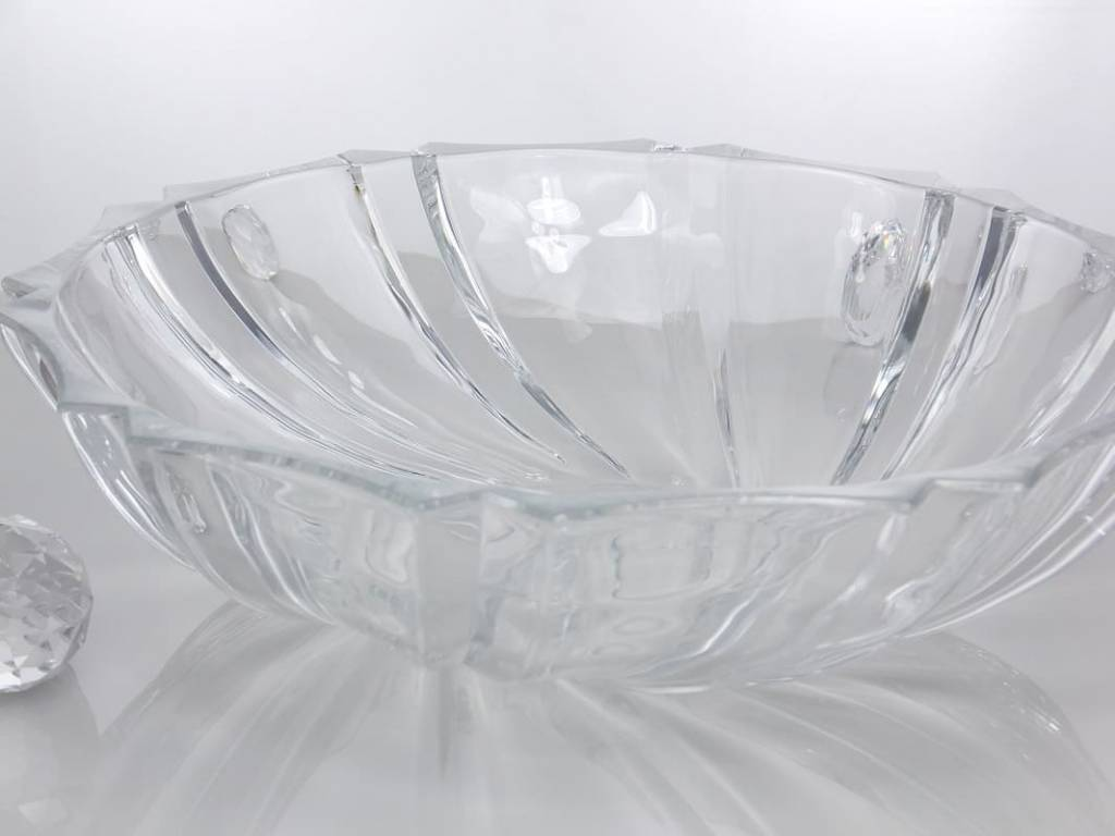 IRENA - 1924  Opulent serving dish - glass bowl - with relief pattern