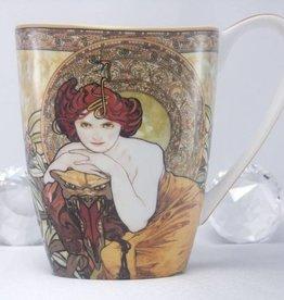CARMANI - 1990 Alfons Mucha -  Smaragd   -Kaffeetasse Vanessa