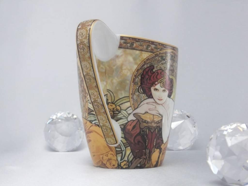 CARMANI - 1990 Alfons Mucha -  The Precious Stones  -Smaragd - Kaffeetasse Vanessa