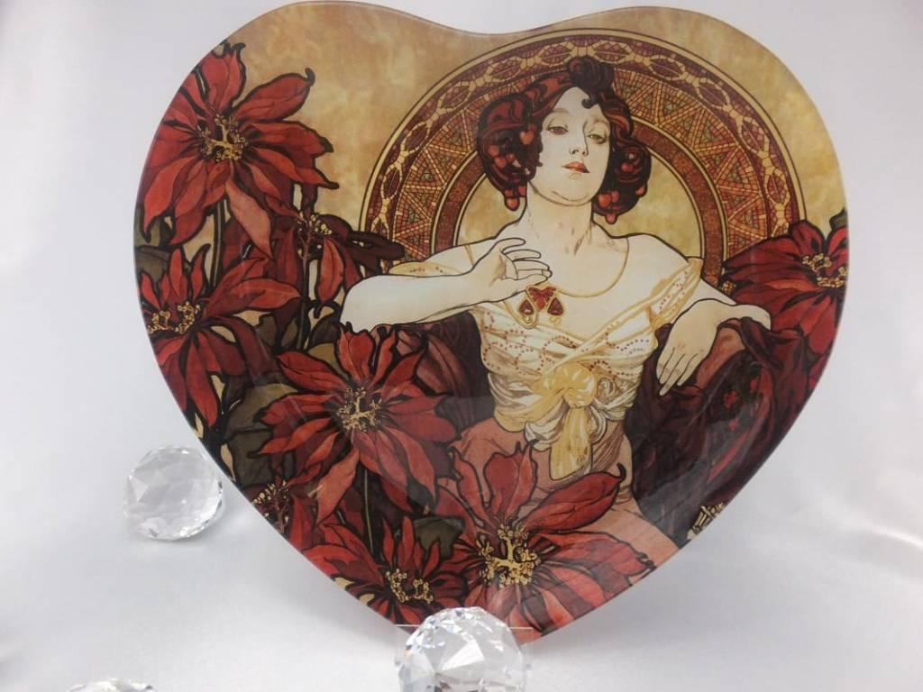 CARMANI - 1990 Alfons Mucha - Ruby - Heart shaped decoration plate