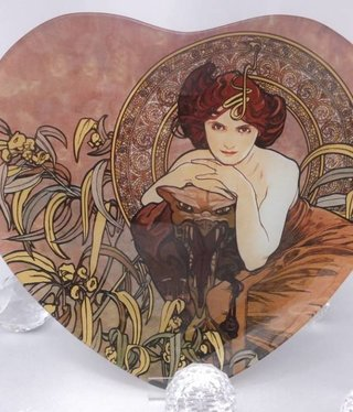 CARMANI - 1990 Alfons Mucha - emerald - glass plate