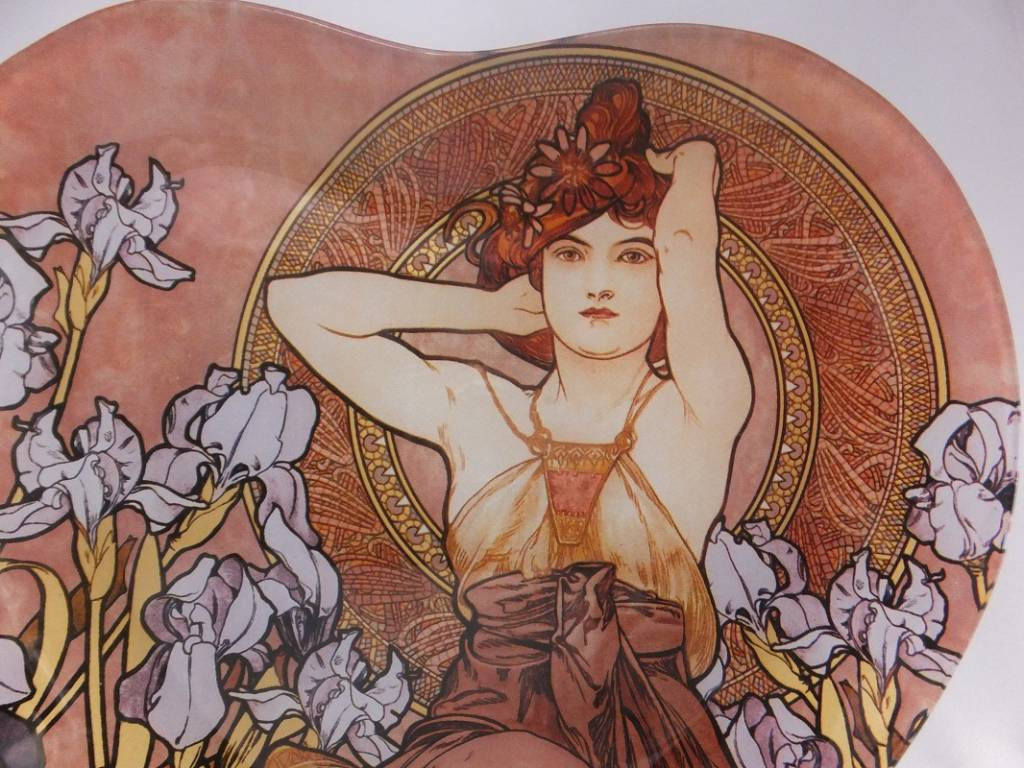 CARMANI - 1990 Alfons Mucha -  Amethyst   - Dekorationsteller in Herzform