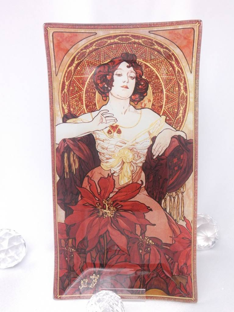 CARMANI - 1990 Alfons Mucha - Ruby - Decoration plate 30 x 16 cm