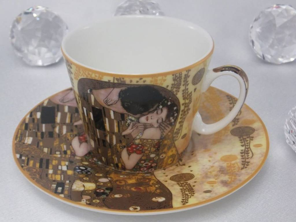 CARMANI - 1990 Gustav Klimt - Coffee cup with saucer - The Kiss - bright
